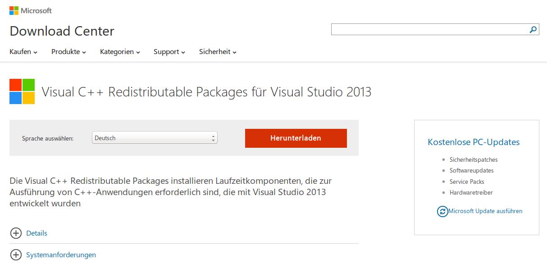 Microsoft Visual C++ Redistributable Download um Elster wieder starten zu können