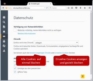 Cookies in Firefox löschen