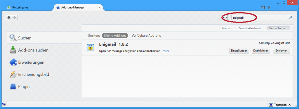 Installation von Enigmail in Thunderbird