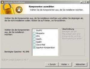 Installation von GnuPG als Voraussetzung zur E-Mail Verschlüsselung