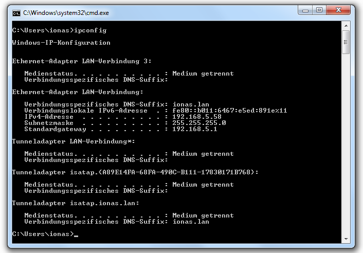 Screenshot Output Befehl ipconfig