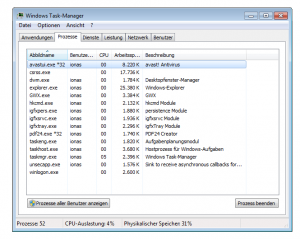 Screenshot Windows-Befehl taskmgr Windows 7