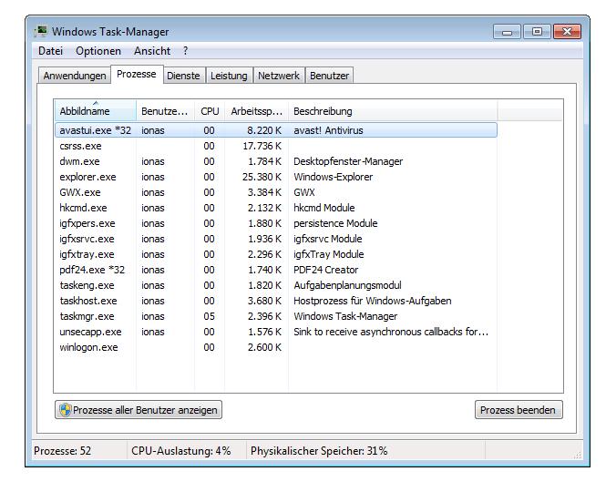 Screenshot Windows-Befehl taskmgr Windows 7