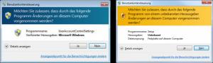 Windows Sicherheitskonzept - Benachrichtigungen der Benutzerkontensteuerung