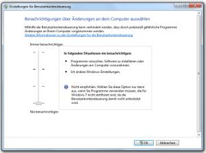 Windows Sicherheitskonzept - Einstellung der Benutzerkontensteuerung