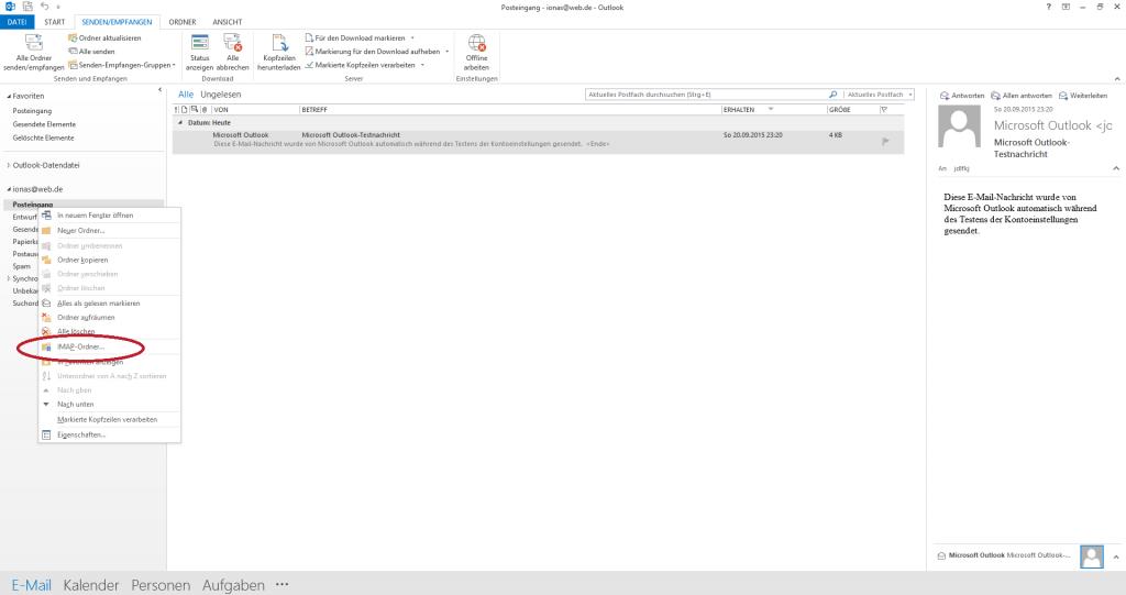 Kontextmenü des E-Mail-Kontos im Ordnerbereich von Outlook