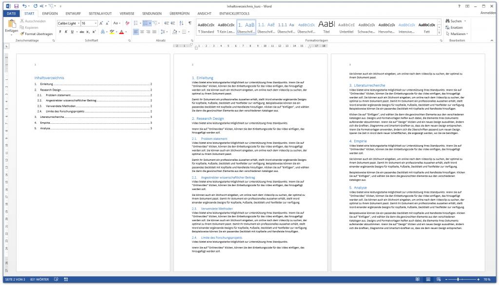 Word Inhaltsverzeichnis - Inhaltsverzeichnis einfügen