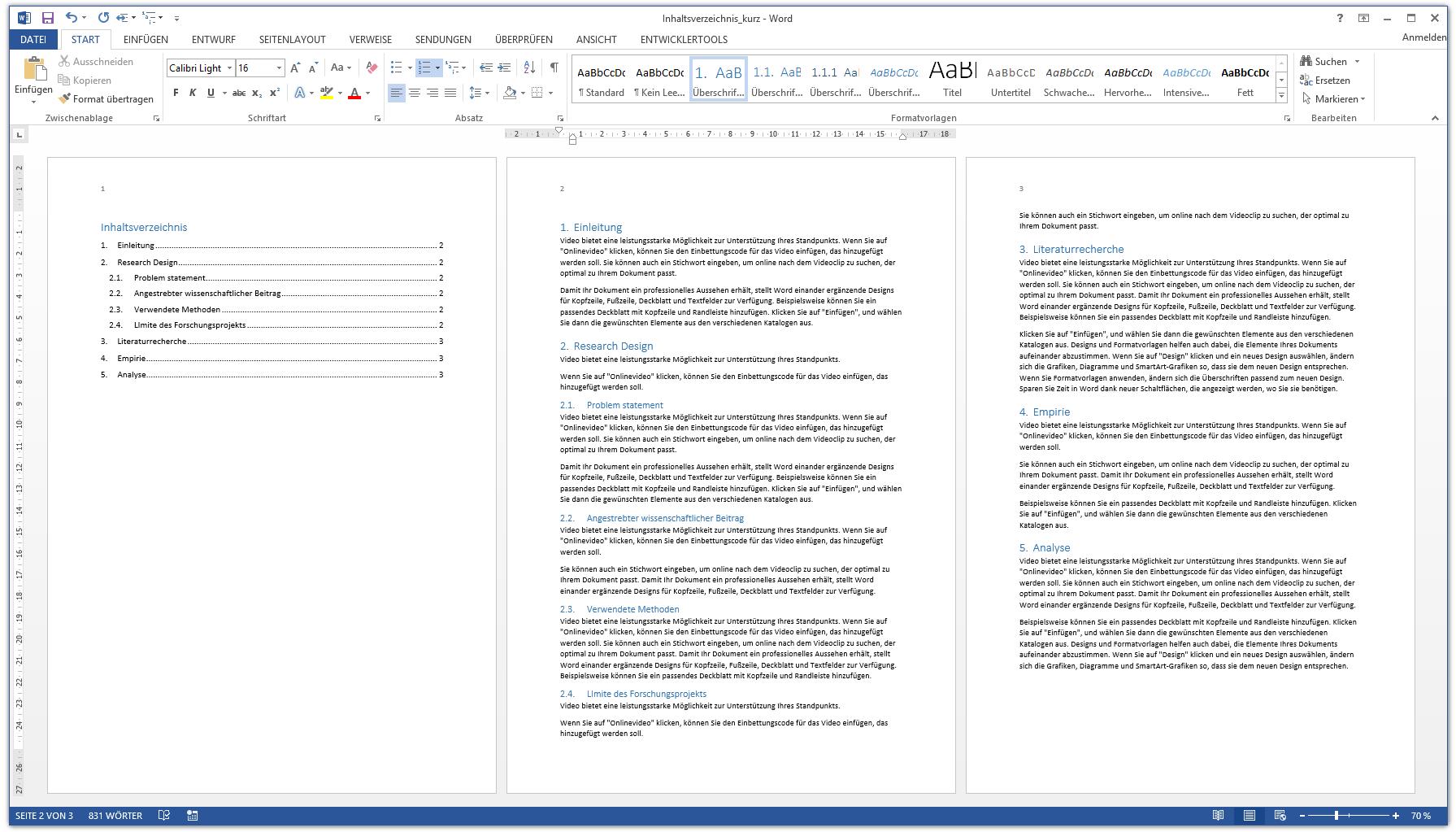 Word Inhaltsverzeichnis Automatisch Erstellen Kurzanleitung