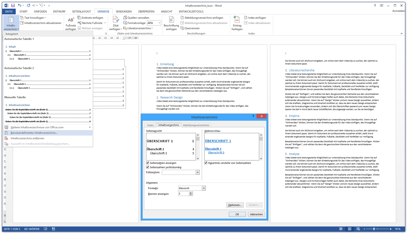 Word Inhaltsverzeichnis automatisch erstellen - Kurzanleitung