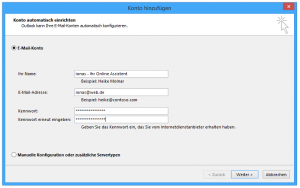 Screenshot des 'Konto hinzufügen' Dialogs in Outlook