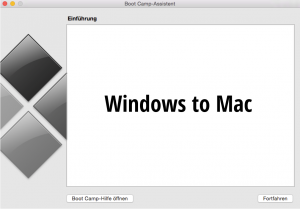 Screenshot BootCamp - Windows to Mac