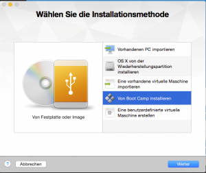 Screenshot Auswahlfenster für die Installationsmethode in VMware Fusion