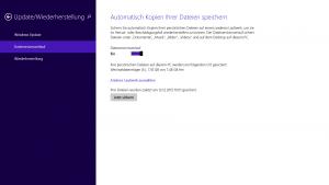 Einrichtung des Dateiversionsverlaufs in Windows 8 über Modern UI