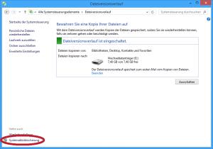 Systemabbildsicherung im Dateiversionsverlauf-Fenster