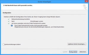 Screenshot automatische Einrichtung E-Mail-Konto in Outlook