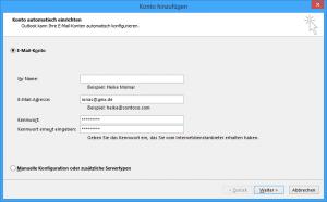 Einrichtungsassistent Outlook für GMX