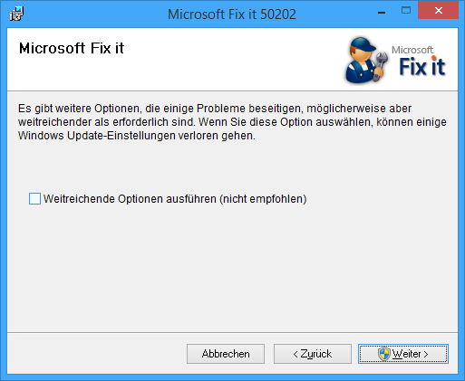Microsoft Fix it Tool 50502 Dialog