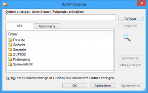 Ordner Abonnements in Outlook