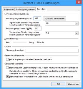 Weitere Einstellungen für GMX in Outlook