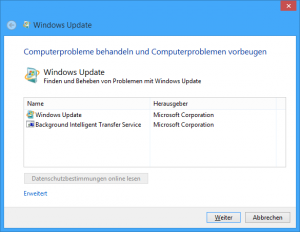 Windows Update Problembehandlung Dialog