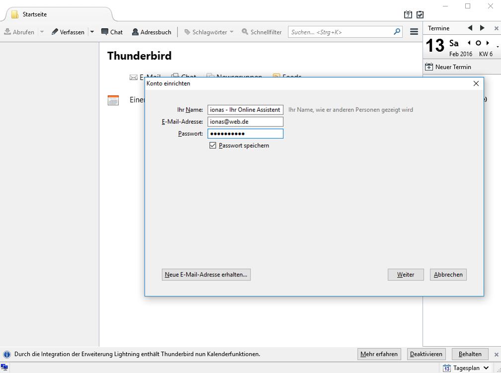 Autmatische Konfiguration von WEB.DE in Thunderbird