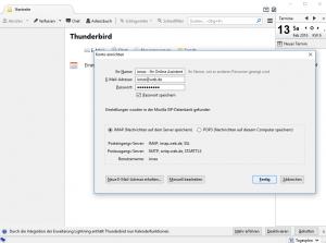 Erfolgreiche automatische Einrichtung eines WEB.DE-Kontos in Thunderbird
