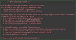 Bildschirmdarstellung im Falle einer Infektion mit der Schadsoftware Locky