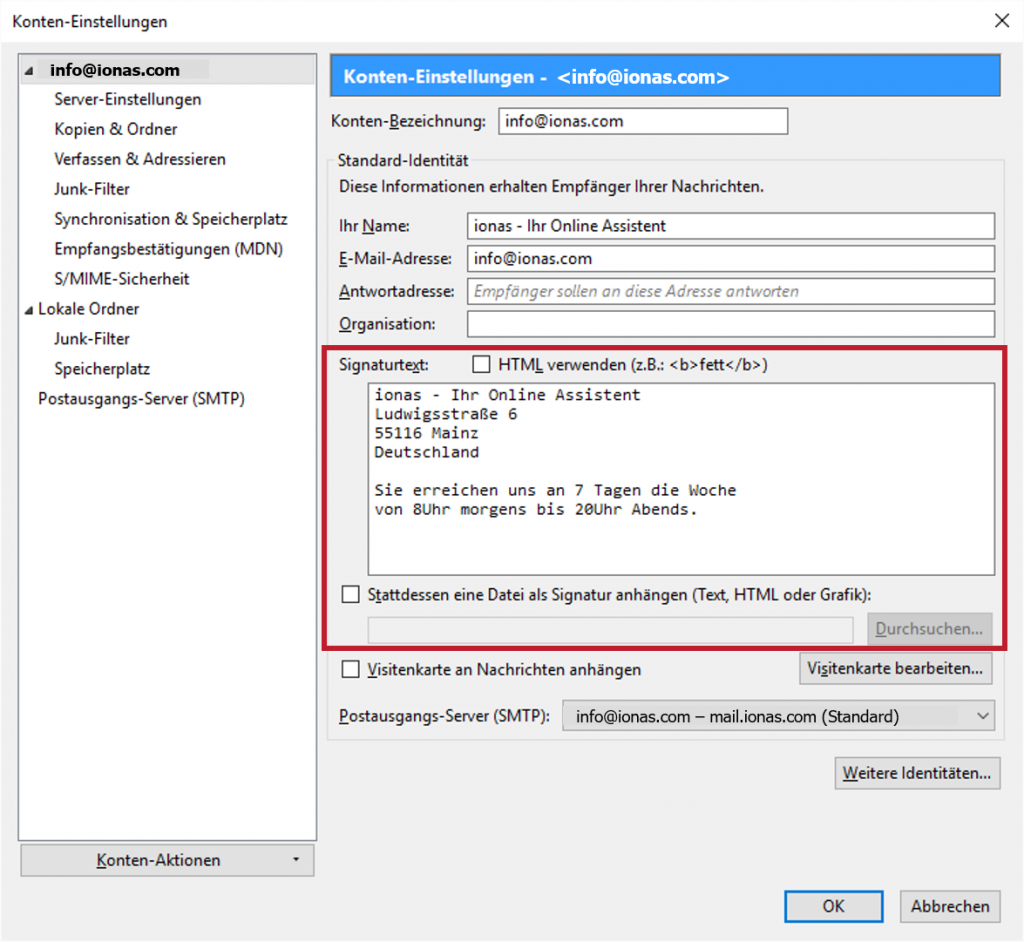 Ein Editor erlaubt das einfache Anlegen von Signaturen in Thunderbird