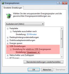 Energiesparplan für USB Geräte ändern