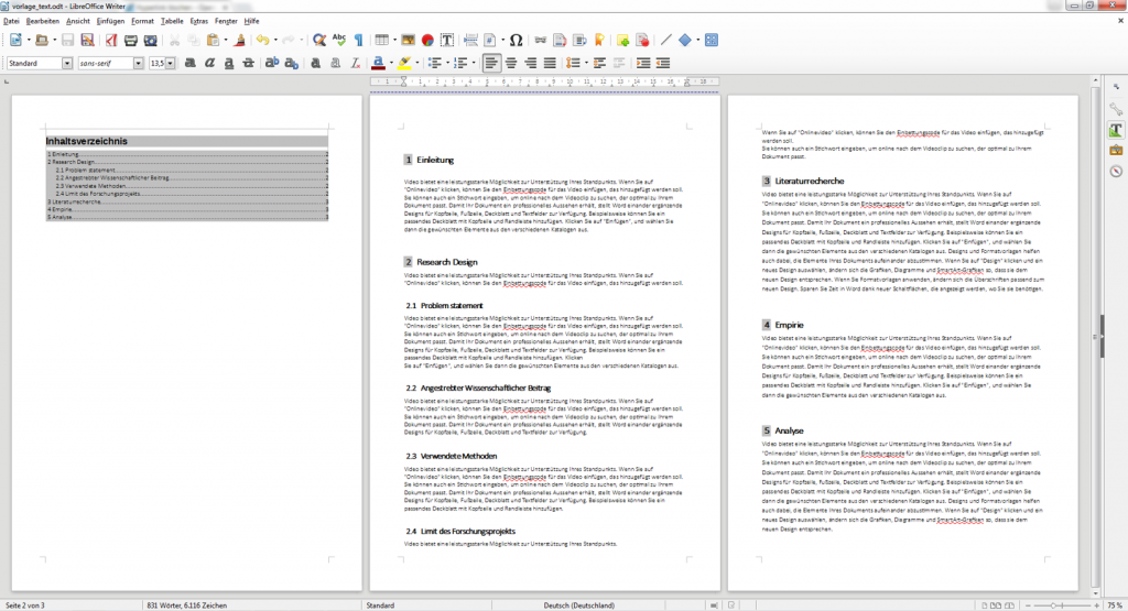 Erstellung eines Inhaltsverzeichnisses in LibreOffice