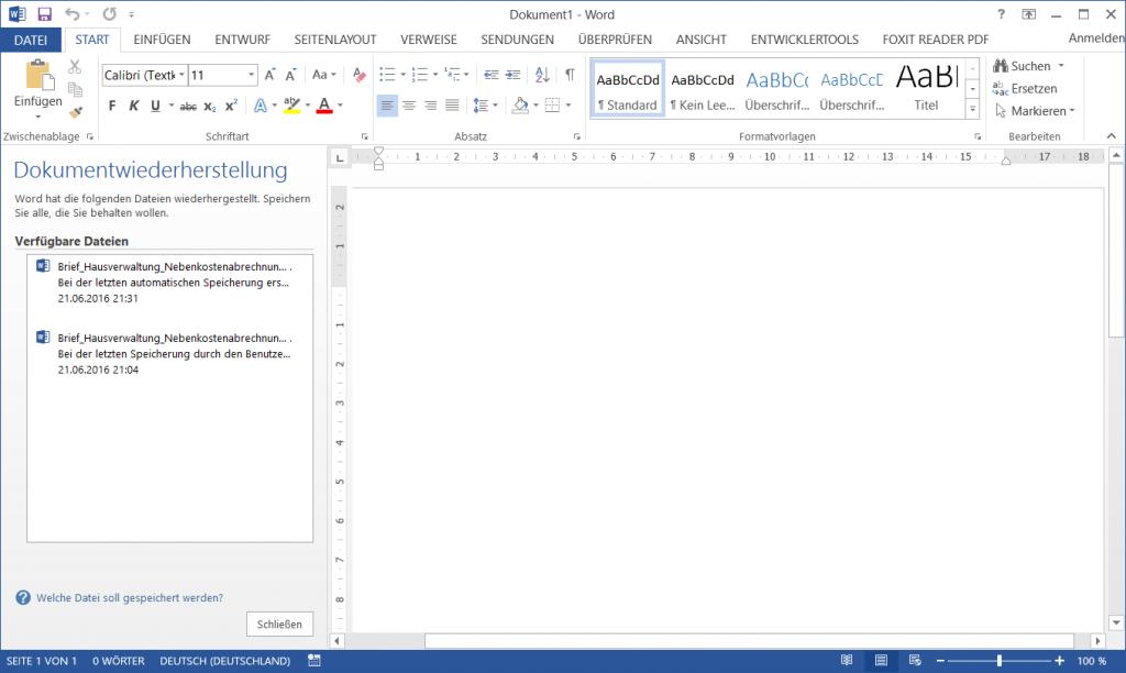 Wiederherstellung verlorener Daten in Office Programmen