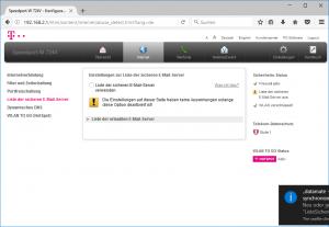 Liste sicherer E-Mail Server in einem Speedport W 724V