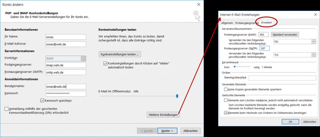 Konteneinstellungen eines E-Mail Kontos in Microsoft Outlook