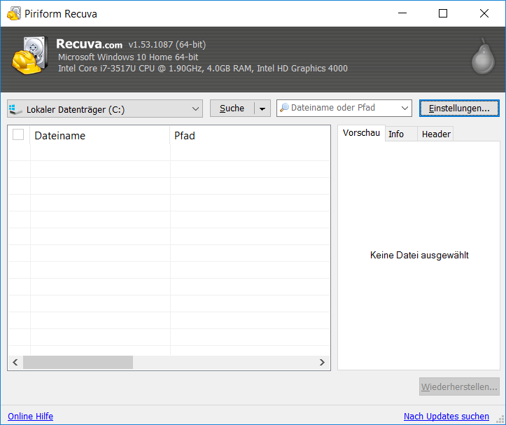Graphische Benutzeroberfläche von Recuva
