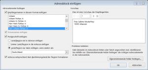 Dialog 'Adressblock einfügen'
