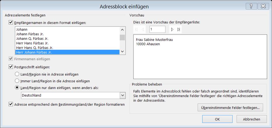 Dialog Adressblock einfügen