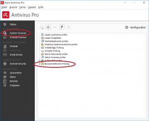 Dateiprüfung per Avira Programmfenster