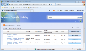 Download Service Pack 2 für Windows 7 im Update Catalog