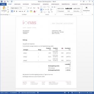 Rechnungsdokument mit Feldfunktionen