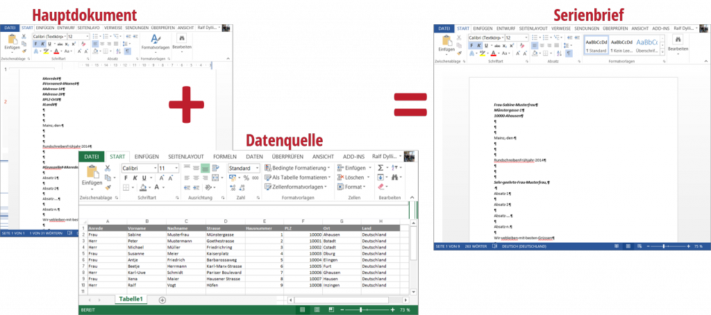 Seriendokument entsteht aus Hauptdokument und Datenquelle