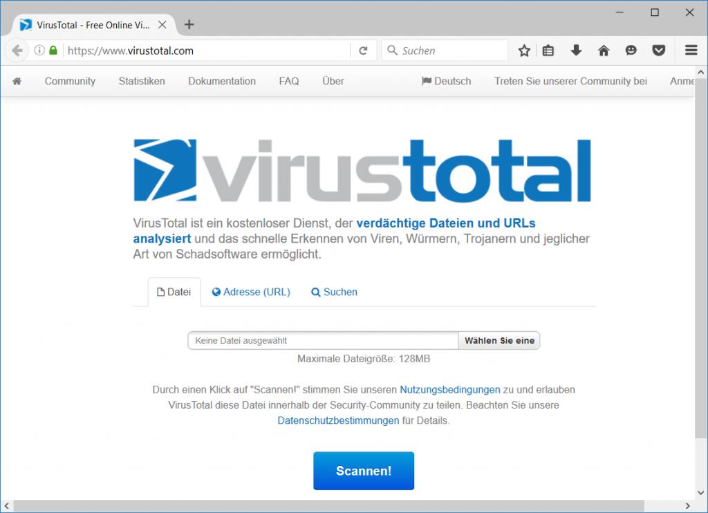 Webseite VirusTotal