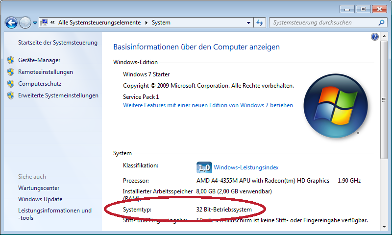 Windows Systemeigenschaften