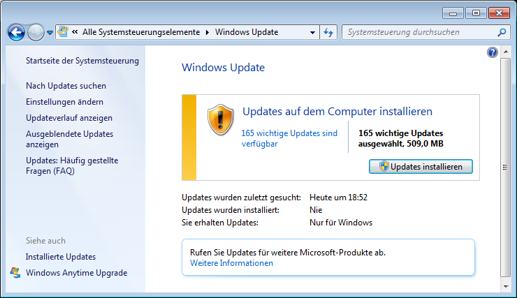 Typische Update Orgie nach Windows 7 Neuinstallation