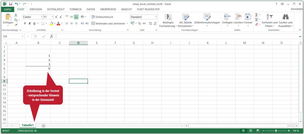 Excel rechnet nicht, weil ein Zirkelbezug vorliegt
