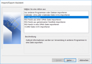 Import/Export-Assistent in Outlook