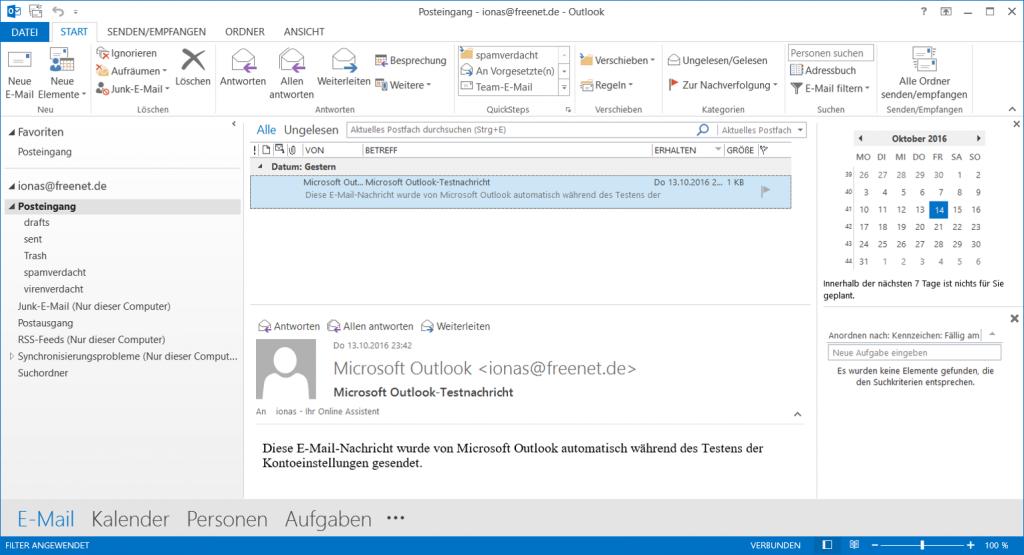 Die Standardansicht von Outlook