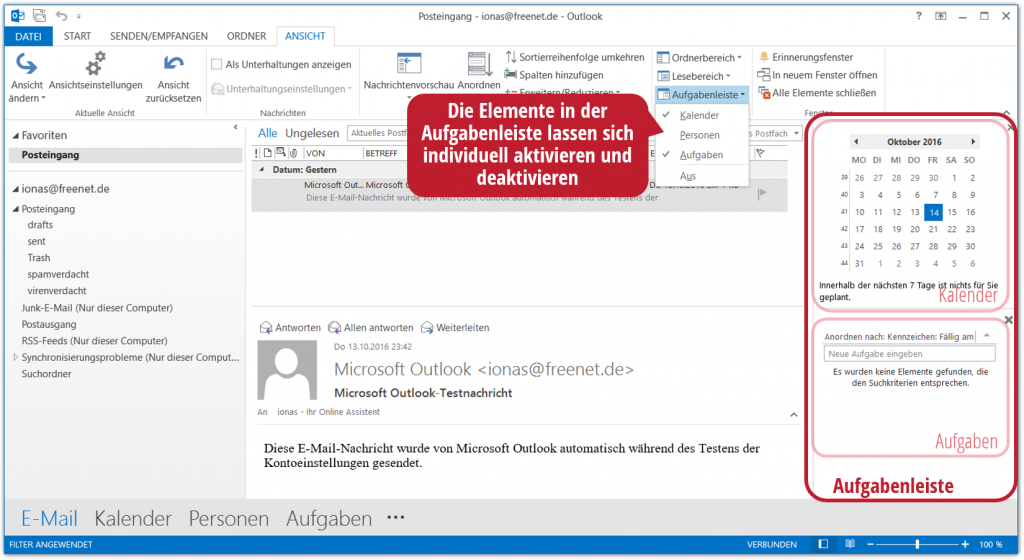 Die Aufgabenleiste in Outlook