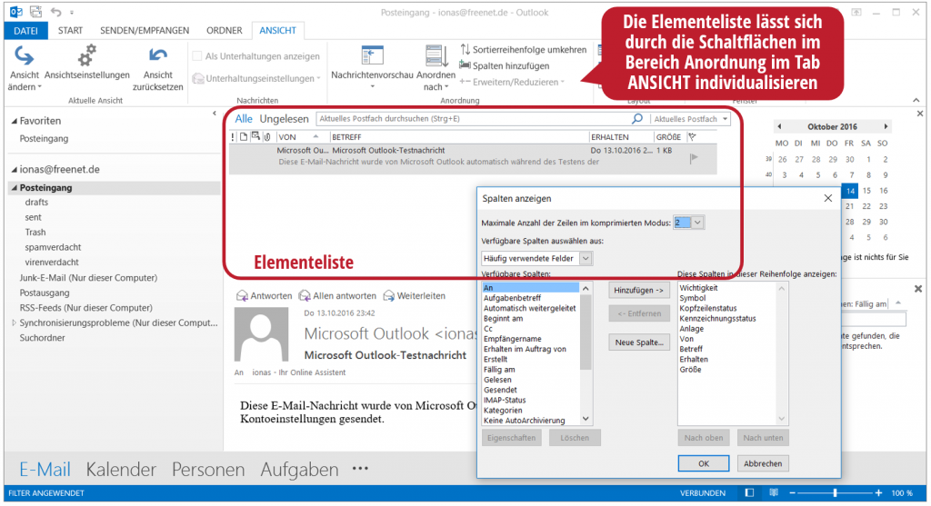 Die Elementeliste in Outlook
