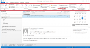 Der Menüband in Outlook