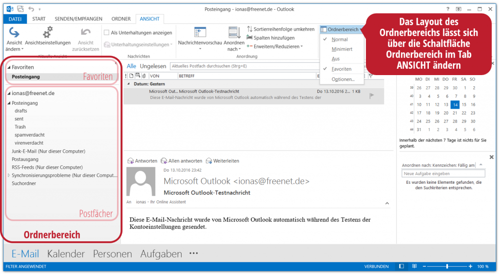 Der Ordnerbereich in Outlook